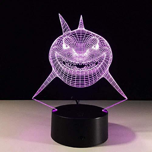 Fierce Shark Fish 3D LED-Lampe USB LED-Lampe Unterwasserwelt Tier 7 Farben Wechsel Schreibtisch Tisch Nachtbeleuchtung Kinderspielzeug Geschenk