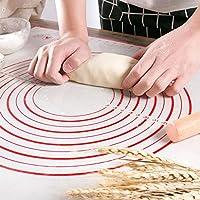 tonver tappetino da forno antiaderente in silicone, con scala graduata, per impasti di pizze e dolci, accessorio per pasticceria rosso (60 x 40 cm)