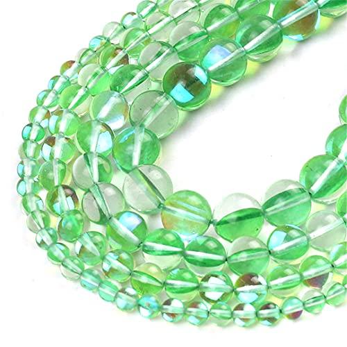 Redondo claro verde Flash cristal Moonstone Glitter cuentas sueltas para hacer joyas Diy Charms Pulsera 15 pulgadas 6/8/10/12 mm 12mm 31pcs perlas