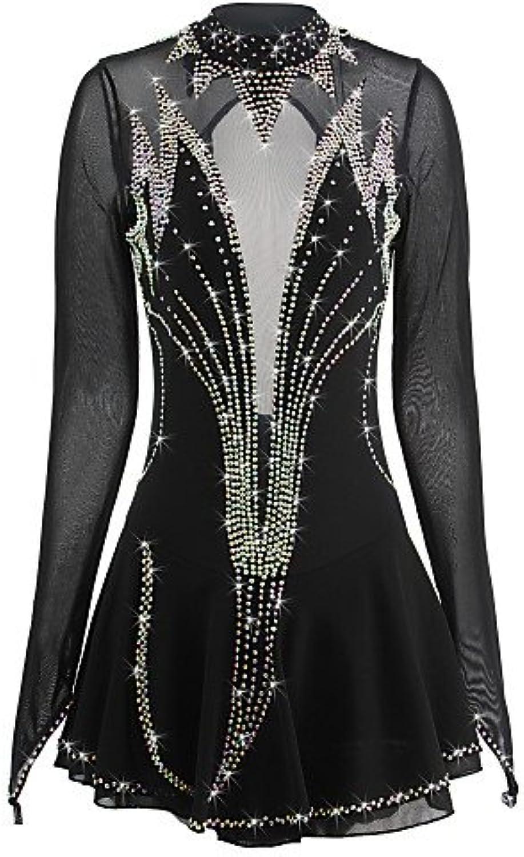 Handarbeit Eiskunstlauf Kleid für Mdchen Frauen Rollschuhkleid Wettbewerb Kostüm Crystals Long Sleeved Schwarz