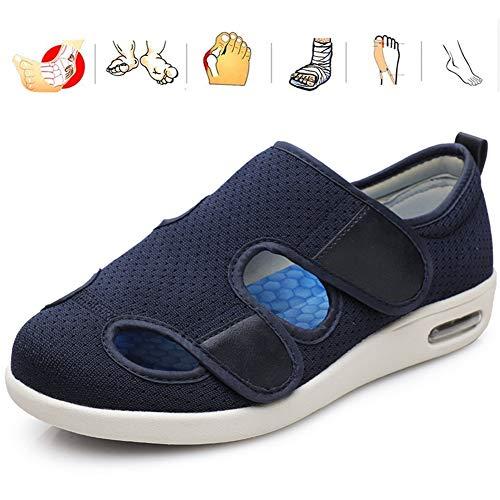 KRILY Zapatillas para diabéticos Sandalias Antideslizantes pies Transpirables de Verano Zapatos Hombres Edema Extra Anchos hinchados para Pies Hinchados Ancianos Diabéticos,Dark Blue,43