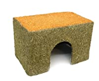 Sleep and play den for rabbits and guinea pigs Thick, edible card coated in side and out with meadow hay The roof is made from real dried carrot 37 x 25 x 24cm Allows pets to feel more secure and chewing relives boredom
