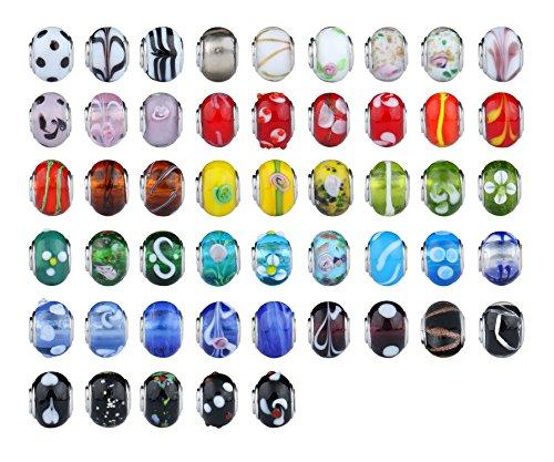 Luxbon 50 Charms Abalorios Cristal de Murano DIY Regalo Hacer Pulsera 5mm
