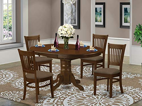 East West Furniture KEVA5-ESP-C 5-Piece Kitchen Table Set - Round Top Wooden Table - 4 Chairs Slatted Back and Linen Fabric Seat (Espresso Finish)