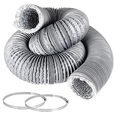 3 Inch 16 Feet Air Duct Flex Air Aluminum Foil Ducting Dryer Vent Hose HVAC Ventilation for Grow Tents, Dryer Rooms, Kitchen, 2 Clamps Included