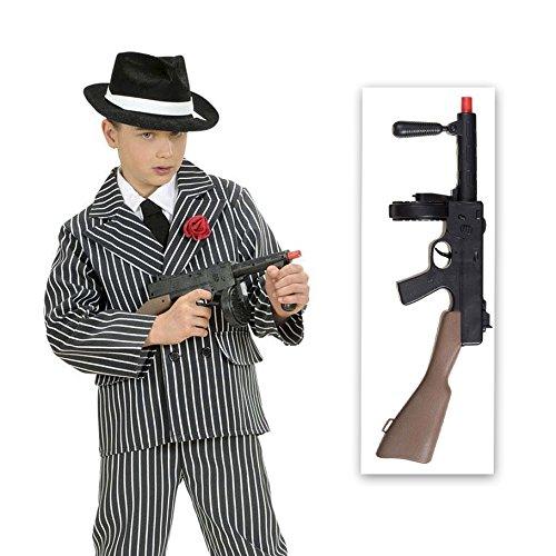 NET TOYS Mafia Maschinengewehr mit Sound Gangster Waffe schwarz-braun Länge 50 cm Mafia Gewehr Spielzeug Gewehr Spielzeugwaffe