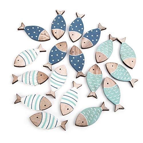 Logboek-Verlag 2 x 18 mini-vissen strooidelen vissen 6 cm blauw turkoois natuur strooidecoratie maritieme decoratie doop communie tafeldecoratie houten vissen klein
