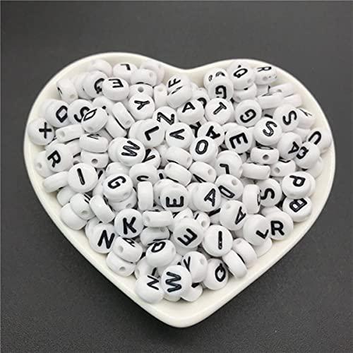 100 piezas 4x7mm letras redondas 26 letras cuentas melocotón cuentas espaciadoras en forma de corazón que hacen joyería collar pulsera # ABC-ABC