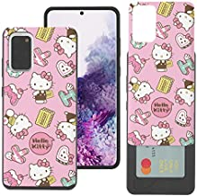 Compatible with Galaxy Note20 Case (6.7inch) Sanrio Slim Slider Card Slot Dual Layer Holder Bumper Cover - Pattern Hello Kitty