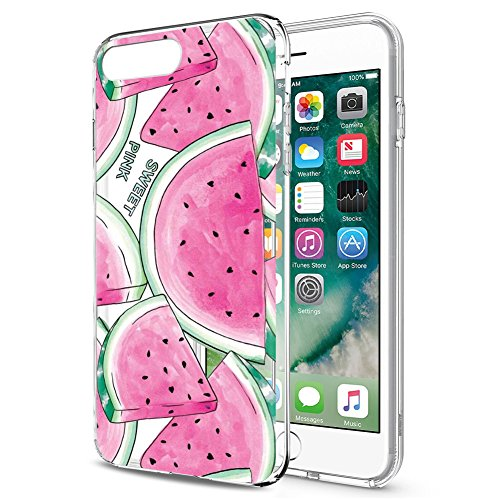 Funda para iPhone 8 Plus, Fundas para iPhone 7 Plus Eouine Cárcasa Silicona 3D Transparente con Dibujos [Antigolpes] Protector Fundas Movil para iPhone 7Plus / 8Plus 2018-5,5 Pulgadas (Sandía)