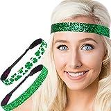 Hipsy Irish Green Headband St Patricks Day Accessories Clover Headband Gift Packs (Green Clover & Wide Glitter 2pk)
