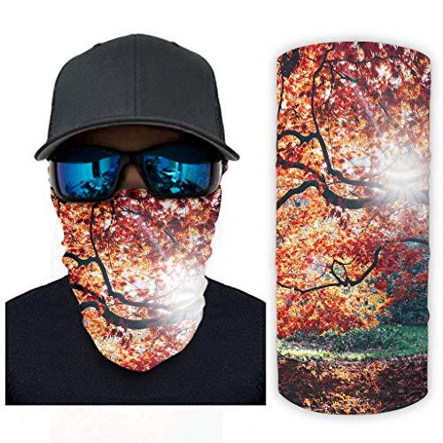 CCMugshop Balaclava - Máscara de cara para otoño, otoño, otoño, hojas de arce, con impresión solar, color blanco, talla única