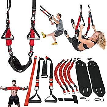 M.A.K Suspension Trainer System,Include Faction of Suspension Resistance Training Straps+Aerial Yoga Swing Belt+Adjustable Chest Expander 2021 Updated Home/Gym/Yoga Studios Workout Equipment