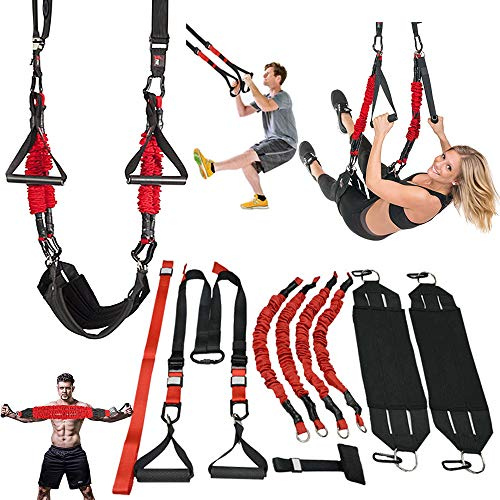 M.A.K Suspension Trainer System,Include Faction of Suspension Resistance Training Straps+Aerial Yoga Swing Belt+Adjustable Chest Expander, 2021 Updated Home/Gym/Yoga Studios Workout Equipment