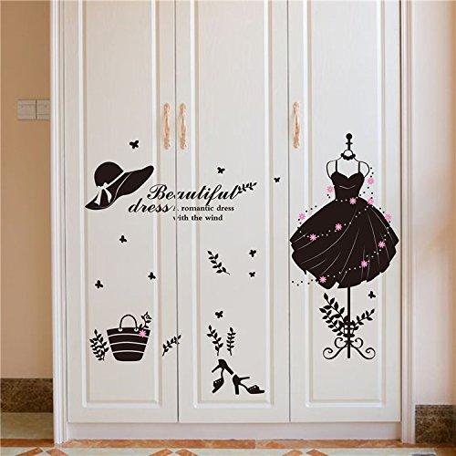 DSSJ Muebles de Dormitorio Puerta de Armario Pegatinas de Pared Creativas Vestido de Mujer Ropa Pegatinas de decoración de Vidrio para Ventana de Tienda
