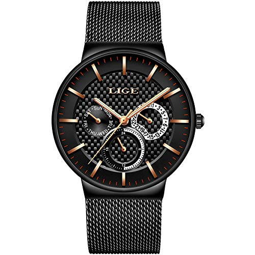 Herren Uhren,LIGE Edelstahl Wasserdicht Sport Analog Quarzuhr Datum Kalender Business Casual Kleid Armbanduhr Uhr mit Milanese Mesh Band Gold Schwarz