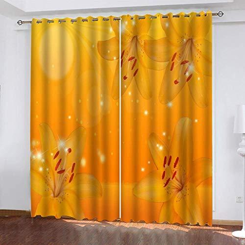 LLPZ Cortinas Opacas E Insonorizadas, Cortinas Amarillas con Estampado De Flores, Cortinas Modernas para Dormitorios Y Salas De Estar 2 × 140 × 175