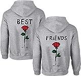 Beste Freunde Damen Hoodie für 2 BFF Best Friends Rose (Grau-Best, L)