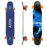 AODI 46' Longboard Skateboard Complete Canadian Maple Wood Double Kick Concave Maple Pro Beginner Dance Board with LED PU Wheels for Boys Girls Adults