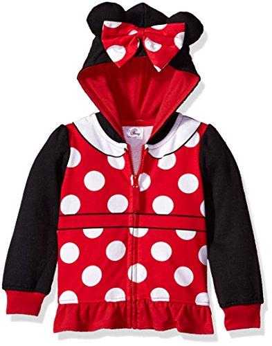 Disney baby girls Minnie Mouse Costume Zip-up Hoodie Hooded Sweatshirt, Black/Red, 4T US