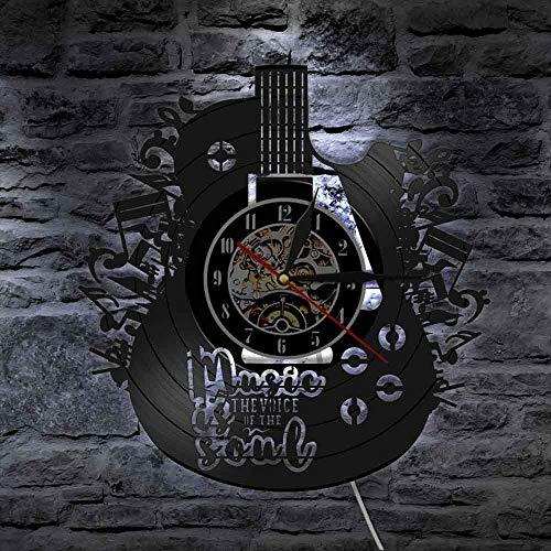 BFMBCHDJ Forma de Guitarra Led Vinyl Record Reloj de Pared CD Decoración de Pared Reloj Decoración Sala de Estar Dormitorio Sin LED 12 Pulgadas