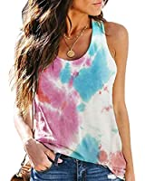 Womens Tank Tops Loose Fit Tye-Dyed Sleeveless Tops Racerback Tank Tops Solid Color Basic Tops