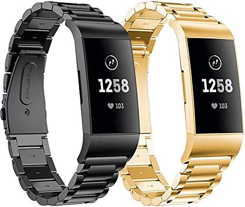 Gransho Correa Metálica de Reloj de Liberación Rápida Compatible con Fitbit Charge 4 / Charge 4 SE/Charge 3 SE/Charge 3, Pulsera Reloj de Acero Inoxidable (Pattern 2+Pattern 4)