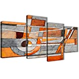 Wallfillers Juego de impresiones grandes de 4405-130 cm, color naranja y gris quemado