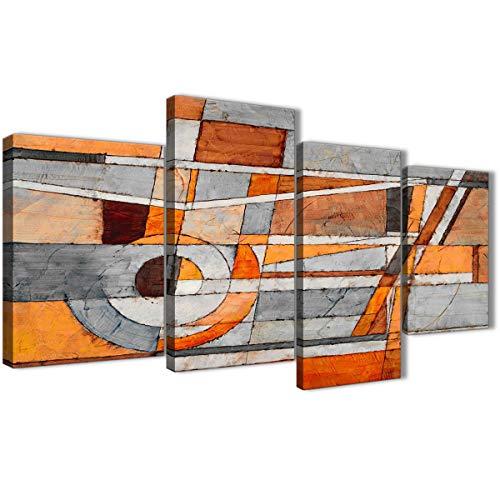 Grande color naranja color gris pintura abstracta dormitorio cuadros en lienzo Decor–4405–130cm juego de Prints Wallfillers