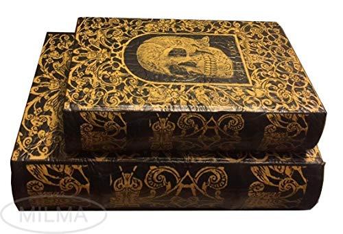 Juego de 2 cajas de joyería decorativas de calavera y libros, tamaño grande, de madera sintética, para guardar tus recuerdos, calavera celta, Regis Mundial, 'King of Death'