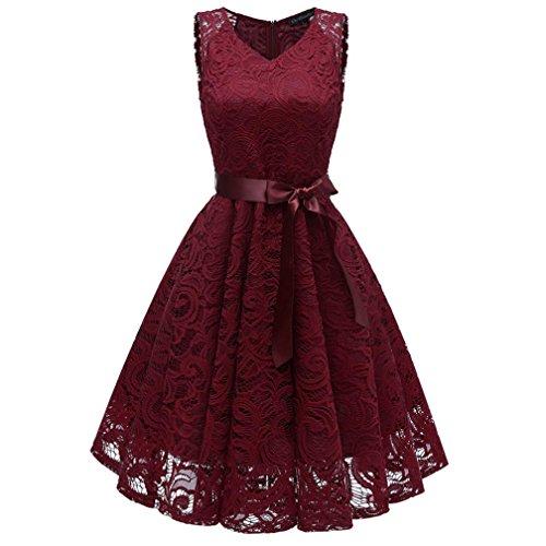 Damen Vintage Prinzessin Blumen Spitzekleid,TWIFER Cocktail V-Ausschnitt Party A-line Swing Kleid Abendkleider Hochzeitskleid (S, Weinrot)