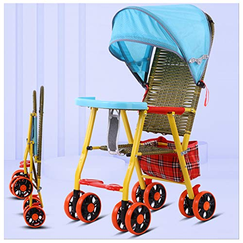 JKNMRL Cochecito de bambú y ratán, Coche Infantil Transpirable con toldo Ajustable y Bolsa de Almacenamiento (Multicolor Opcional),Azul