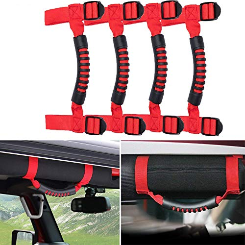 4 x Grab Handles Grip Handle Red Holder Roll Bar Grab Handles Compatible with Jeep Wrangler JK Unlimited Rubicon 1995-2018