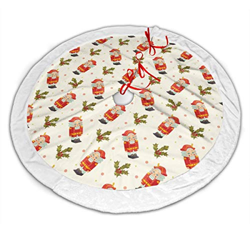 GOWINEU Christmas Nutcracker Holly 48 Inch White Edge Xmas Tree Skirt Tree Toppers Pad Xmas Holiday Decoration Parent Friends for Work