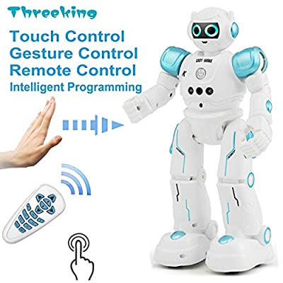 Threeking Smart Robot Toys Gesture Control Remote Control Robot JJRC Robot Gift for Boys Girls Kid's Companion:Game Learning Music Dance...Rechargeable Rc Robot Toy