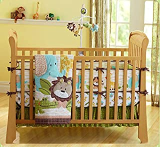 Wowelife Jungle Crib Bedding Set 7 Piece Jungle Lion Elephant Giraffe and Crocodile Crib Bedding Set with Bumpers for Baby(Brown-7 Piece)