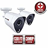 Night Owl Security 2 Pack Add-on Extreme HD 3MP Dual Sensor Wired Infrared Camera (White)