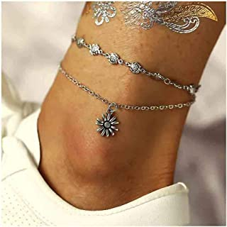 Edary Vintage Sunflower Anklet Bracelet Silver Anklets Foot Jewelry Accessories for Women and Girls(1PC)