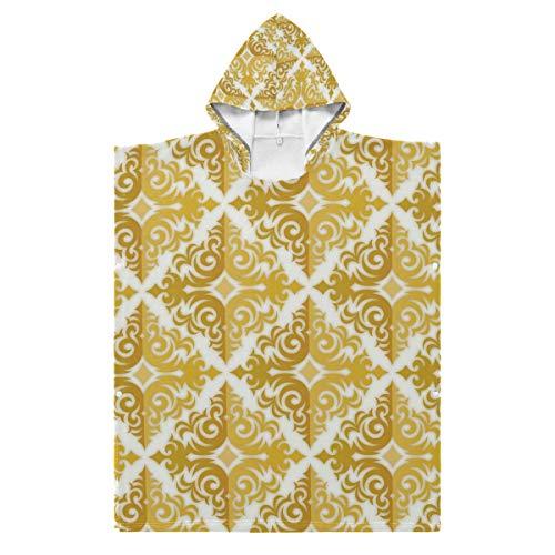 LENNEL Diversión para la Piscina Hot Spring Water Park Kids Bath Robe Cape 35.43x27.55 Inches Gold Textur Cotton Soft Hooded Beach Towel