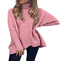 Nicellyer Women Mid length Baggy Knit Pullover Dolman Sleeve Knit Pullover Jumper Tops 6 M