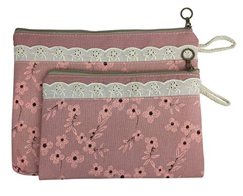 emartbuy Set von 2 Blumenmuster Reißverschluss Stoffbeutel Mit Spitzendetails Mehrzweck-Kosmetiktasche Reisetasche Federmäppchen - Rosa