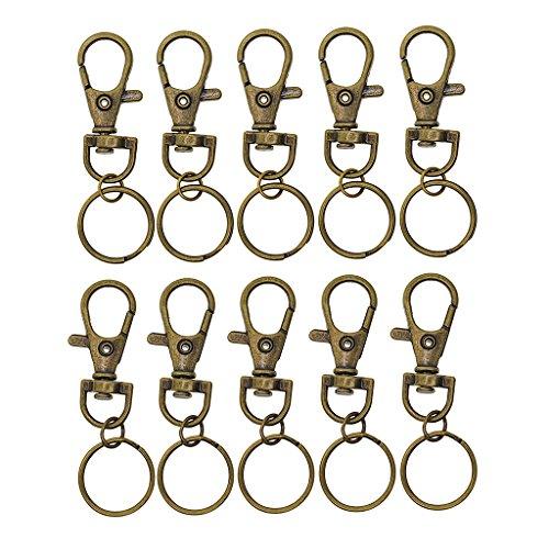 oshhni 10 Stück/Los Bronze Drehbarer Lanyard Karabinerhaken mit Schlüsselringen Schmuckstücke