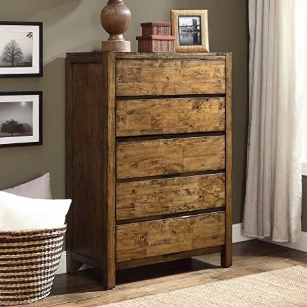 Bryant Collection Solid Wood Dresser In Rustic Brown Finish