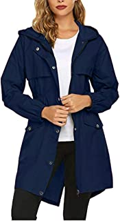 iHHAPY Women Raincoat Lightweight Jacket Windbreaker Warm Transition Jacket Rain Jacket Hooded Outdoor Jacket Solid