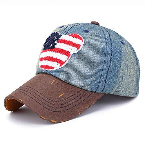 CHENGWJ Baseball cap Verstelbare Cowboy Hoed Vrouwen Mannen Amerikaanse Vlag Borduurwerk Lederen Brim Baseball Cap Visor Hoed