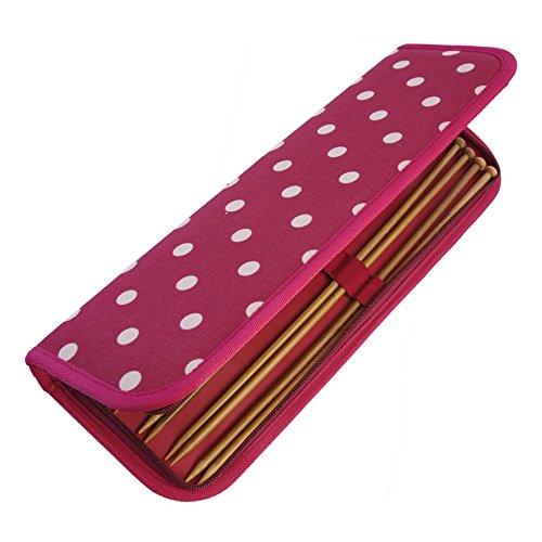 HobbyGift MR4700F/22 | Estuche para agujas de tejer | Lleno de tejer prendedores | Spots crema sobre rojo oscuro: Amazon.es: Hogar