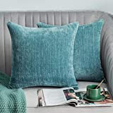Lipo Thick Chenille Pillow Covers 20x20- Set of 2 Decorative Euro Throw Pillows Cover, Soft Cushion Case, Home Decor Rustic Farmhouse for Couch, Bed, Sofa, Bedroom, Car (Teal, 20X20 Inch)
