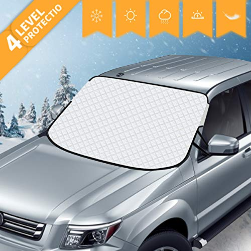 AiBast Car Windshield Snow Cover, for Shade Sun Waterproof Protection with 8 Magnetic Fixing Fits Most Auto, Truck, Vans, MPVs, and SUV