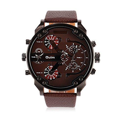 iLove EU Montre-bracelet pour homme à quartz japonais analogique 4 mouvements 4 fuseaux horaires Montre de luxe avec cadran café et bracelet en cuir