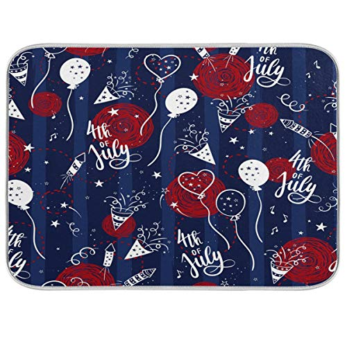 Double-sided Dish Drying Mat 4th Of July Kitchen Counter Mat Extra Large 18x24 Independence Day Absorbent Dishes Pad Dish Drainer Mat